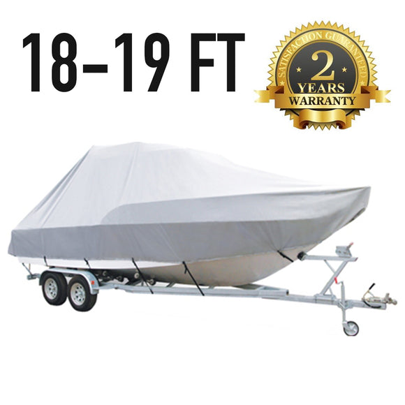18 FT - 19 FT : Jumbo T-Top Boat Cover : 2 Year Warranty