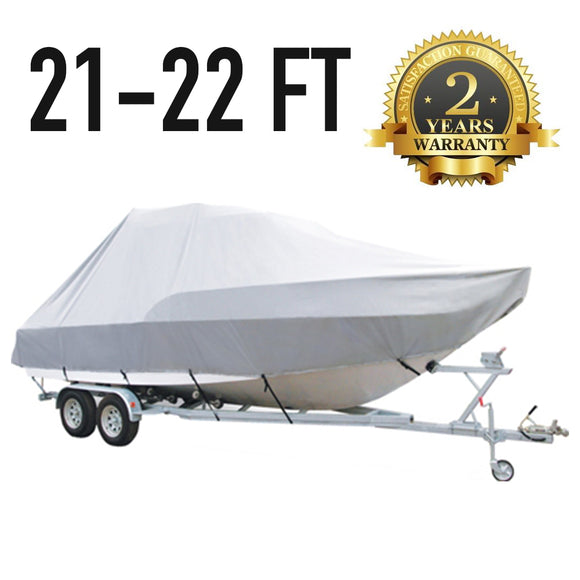 21 FT - 22 FT : Jumbo T-Top Boat Cover : 2 Year Warranty