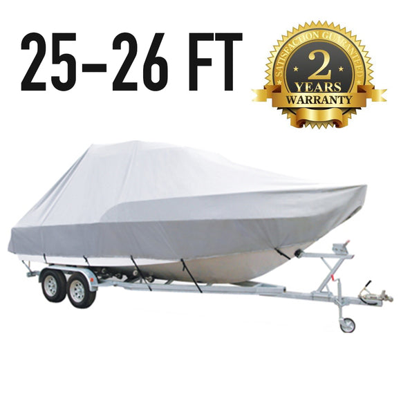 25 FT - 26 FT : Jumbo T-Top Boat Cover : 2 Year Warranty
