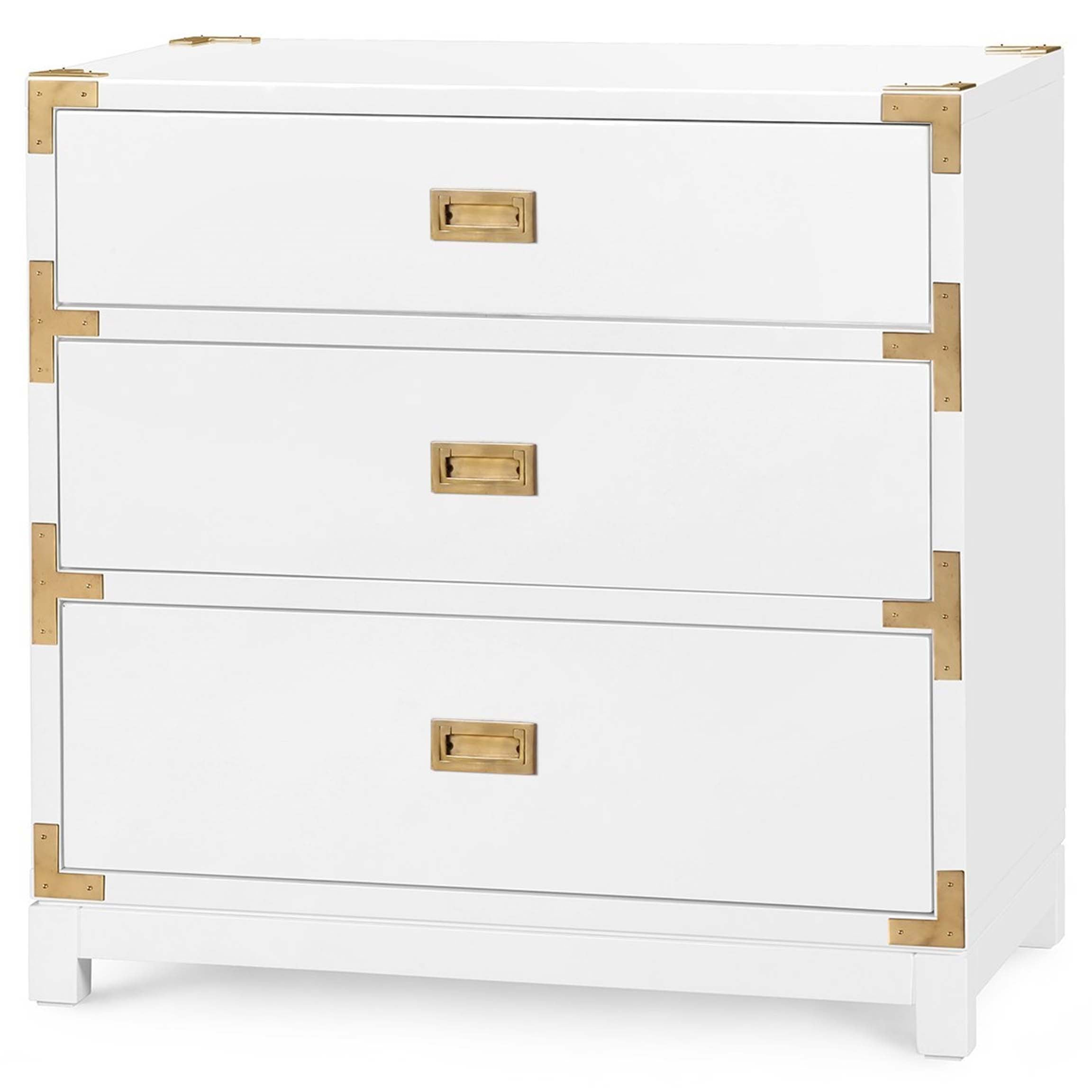 Victoria 3-Drawer Side Table in White