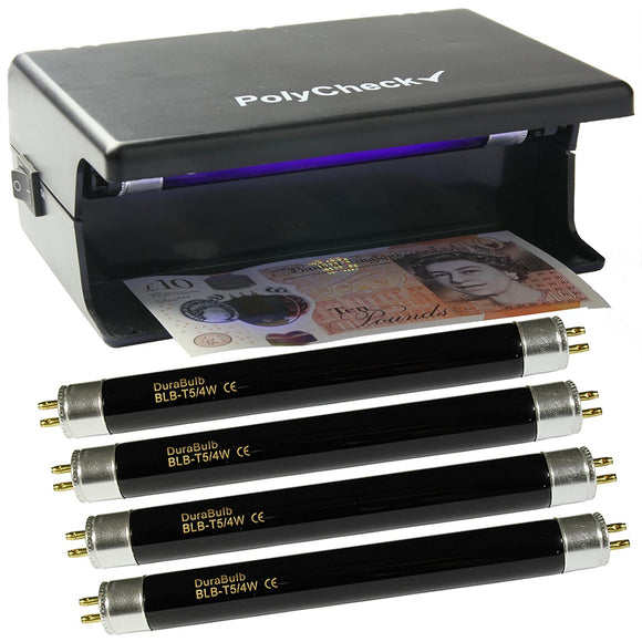 4 Watt UV Money Checker + 4 Spare DuraBulb Bulbs - Detects Forged Polymer & Paper Bank Notes