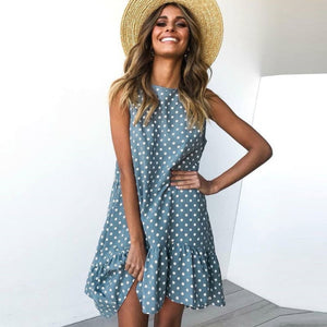 SLEEVELESS DOT MINI DRESS