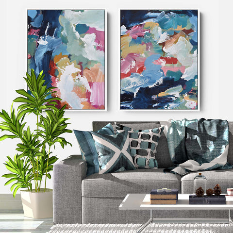 large bright colourful canvas prints set of two