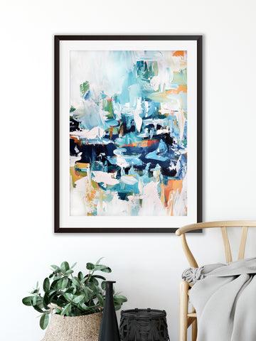 large framed 50 x 70 cm blue abstract art print