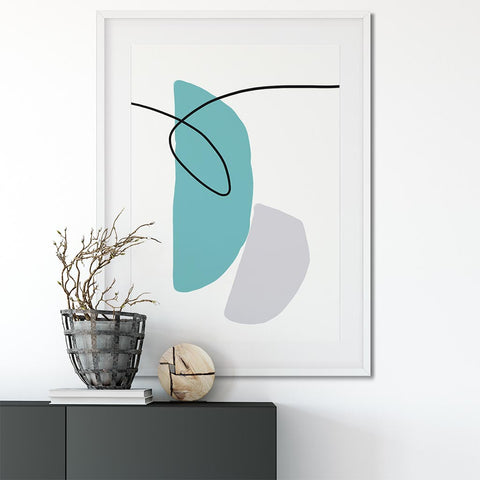 modern teal abstract art prints