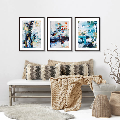 large abstract framed print set of three prints