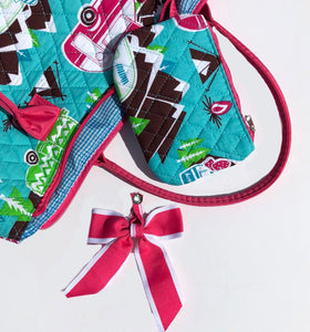 Happy Camper Quilted Tote Bag with Pink Ribbon