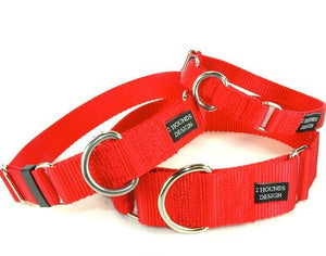 "1"" Wide Solid Color Buckle Martingale Collar"