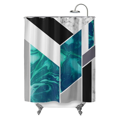 Luxe Marble Aqua Shower Curtain