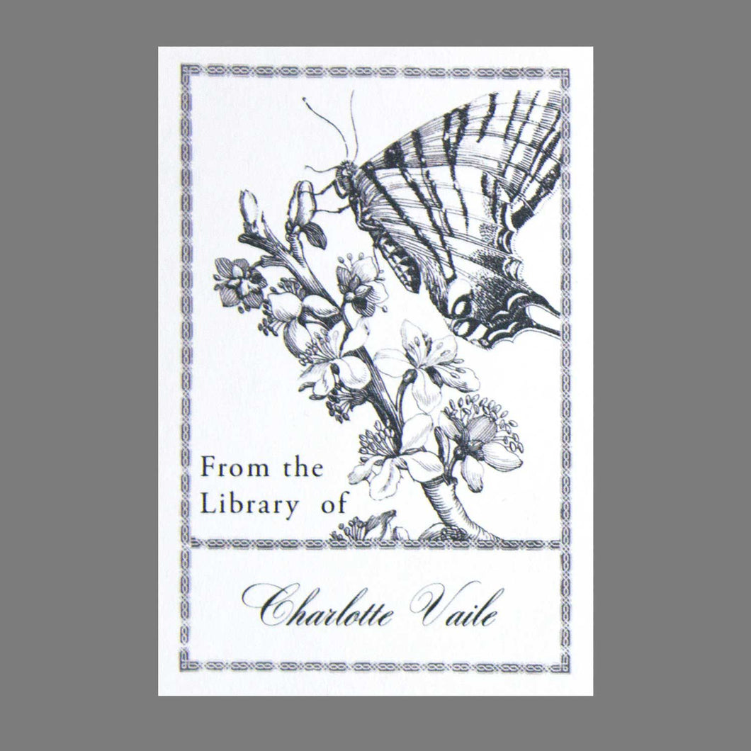 Antique Woodcut Butterfly Bookplate