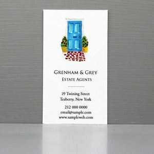 Business Card with Front Door, Blue Front Door, Real Estate Agent
