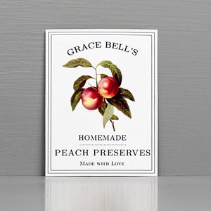 Personalized Peach Jam Labels, Peach Canning Labels