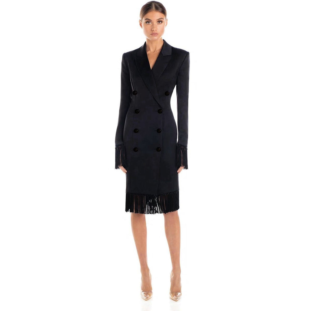 Black Blazer Jacket Fringe Midi Dress - DIOR BELLA