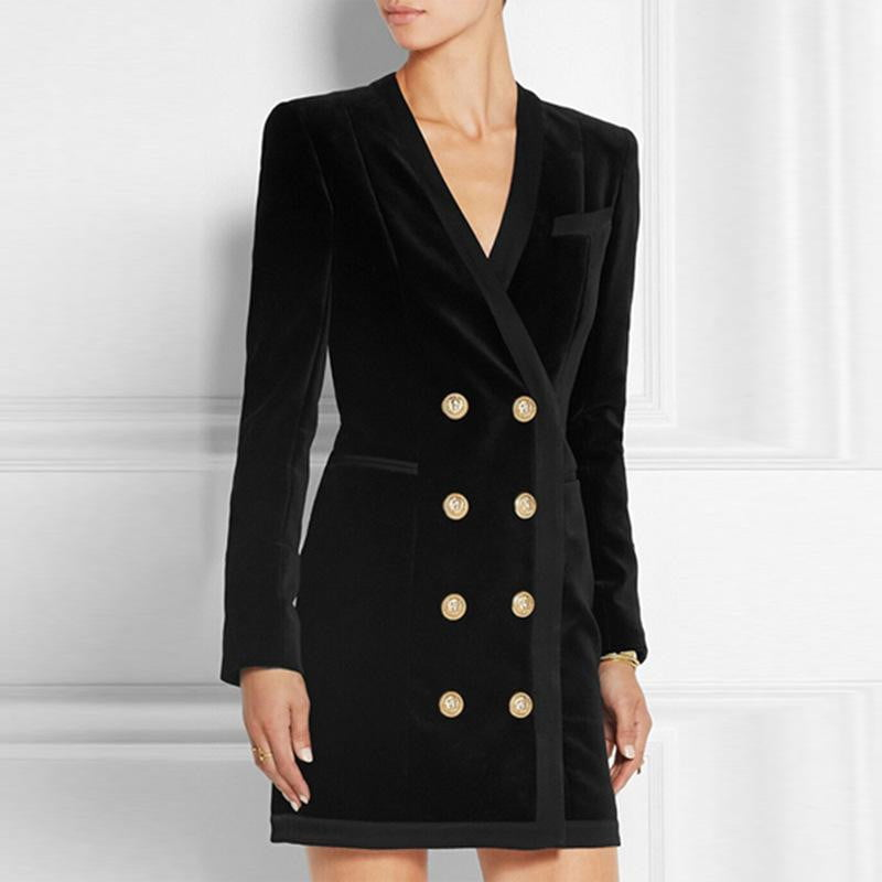Parker Black  Velvet  Double Breasted Blazer Jacket Mini Dress - DIOR BELLA