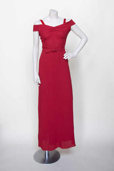 Vintage 1930s Art Deco evening gown in crimson crepe