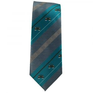 Teal and Gray Stripe Sports Car Tie for Car Lovers
