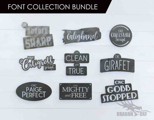 CNC Font Collection Bundle - Plasma Laser DXF Cut File