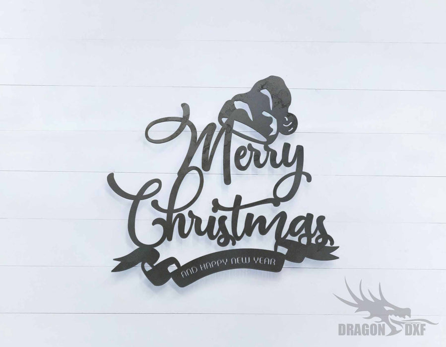 Merry Christmas and Happy New Year Sign - DXF Download
