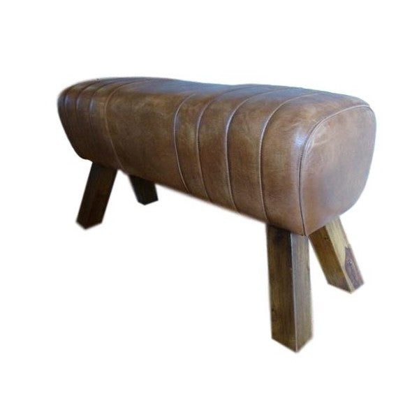 Pommel Horse Style Genuine Leather Bench