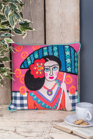 Frida Kahlo with umbrella Filled Cushion - Fair-trade