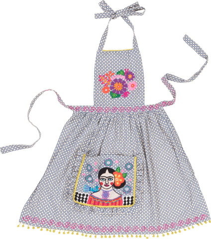 Blue Frida Kahlo Embroidered Apron