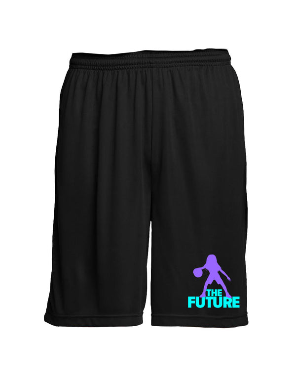 Youth Performance Shorts - Black/Purple/Aqua - Unconfined. Apparel