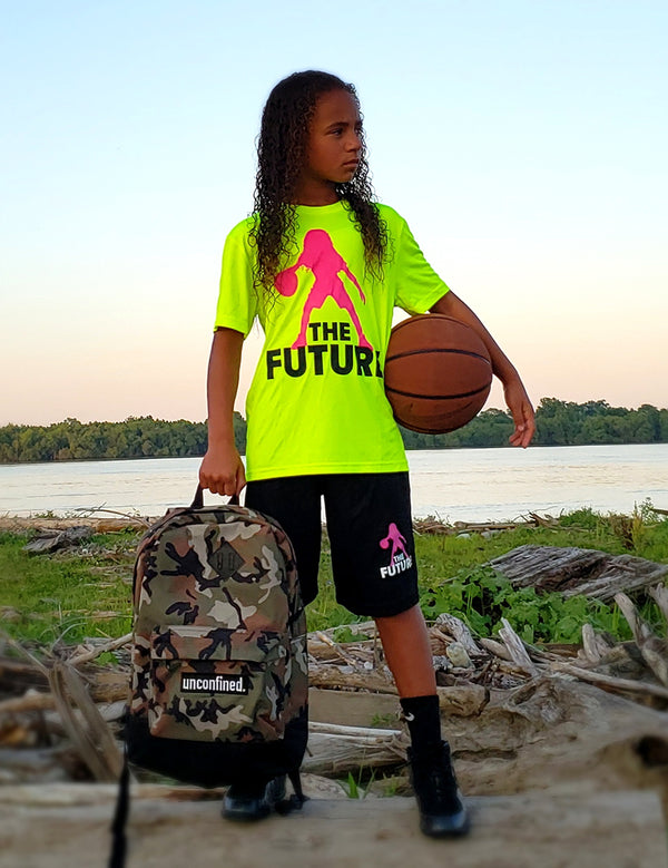 Youth Performance Tee - Volt/Pink/Black - Unconfined. Apparel