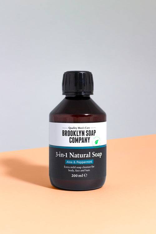 Gel douche Homme 3 en 1 shampoing a barbe gel douche shampoing Brooklyn soap company