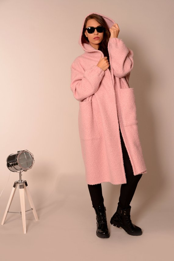 Wool oversized coat cardigan pink | Danellys ღ,Coat- Flamingolandia.online