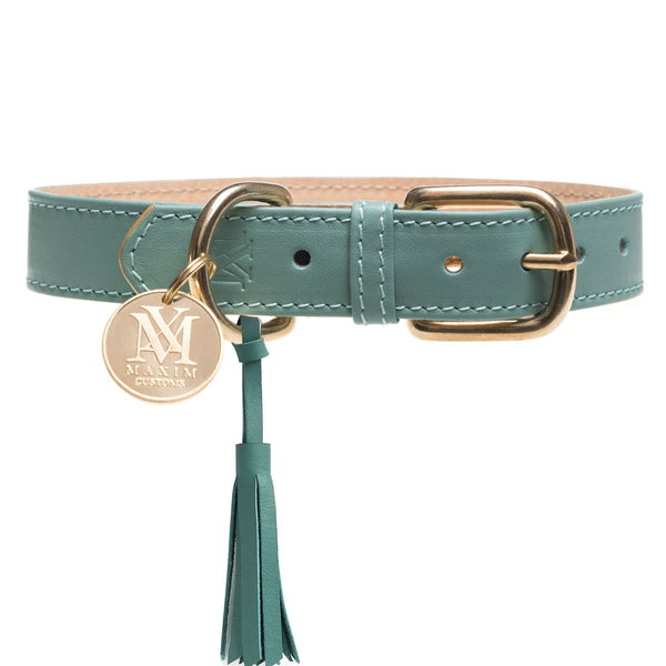 Luxury leather pastel green designer dog collar with pet ID