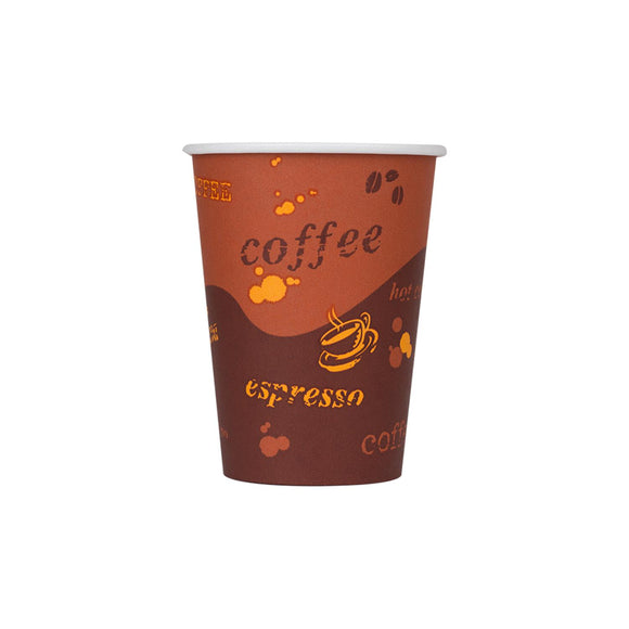 Cafe Coffee Cups | 12oz Stock Printed Paper Hot Cups (90mm) - 1,000 ct-Cups & Lids-Karat-No Lids-No Sleeves-Carry Out Supplies