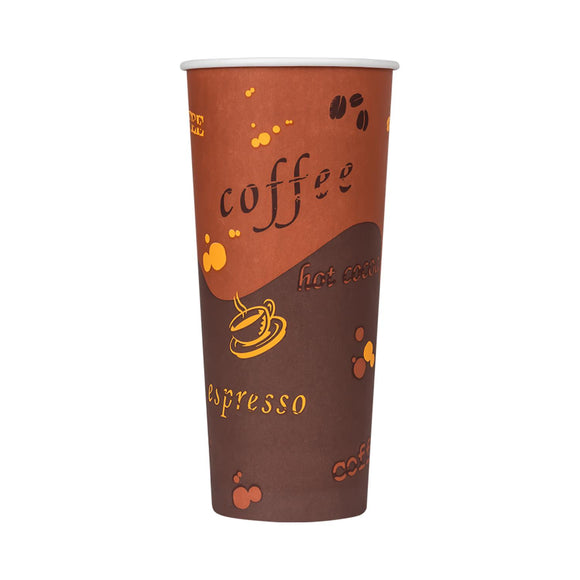 Cafe Coffee Cups | 24oz Stock Printed Paper Cups (90mm) - 1,000 ct-Cups & Lids-Karat-No Lids-No Sleeves-Carry Out Supplies