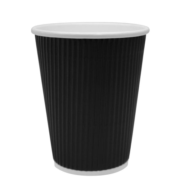 Disposable Coffee Cups - 12oz Ripple Paper Hot Cups - Black (90mm) - 500 ct-Cups & Lids-Karat-No Lids-No Sleeves-Carry Out Supplies