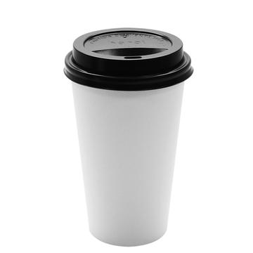 Paper Coffee Cups with Lids - 16 oz White with Black Sipper Dome Lids (90mm)-Cups & Lids-Karat-Carry Out Supplies