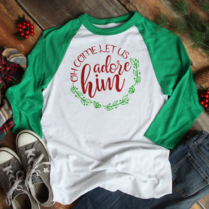 Oh Come Let Us Adore Him Baseball Tee - Inspired Hearts Boutique