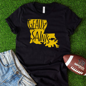Geaux Saints Black Tee - Inspired Hearts Boutique