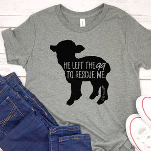 He Left the 99 to Rescue Me Solid Kids Tee - Inspired Hearts Boutique
