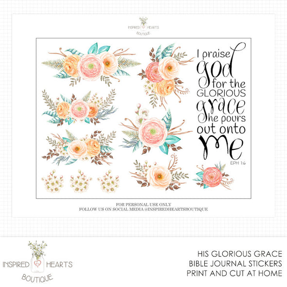His Glorious Grace Bible Stickers