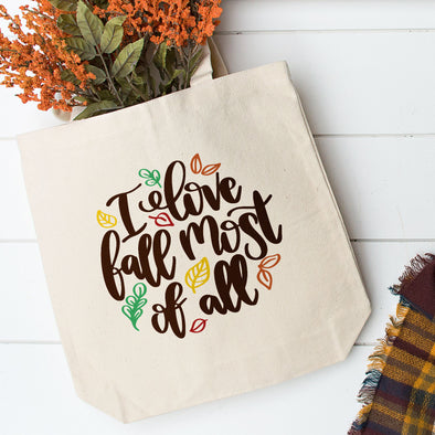 I Love Fall Most Of All Big Tote Bag - Inspired Hearts Boutique