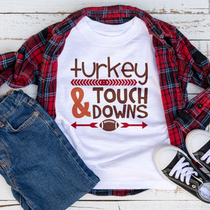Turkey & Touch Downs Kids Tee - Inspired Hearts Boutique
