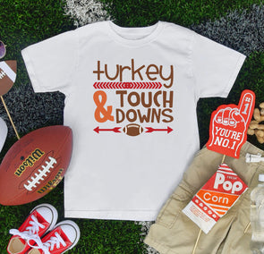 Turkey & Touch Downs Toddler Tee - Inspired Hearts Boutique