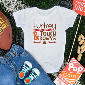 Turkey & Touch Downs Infant Bodysuit - Inspired Hearts Boutique