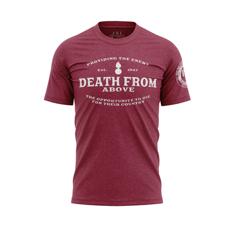 Death From Above Pisspot Red Men's Shirt For AMMO Troops 461 Veteran Clothing Co.