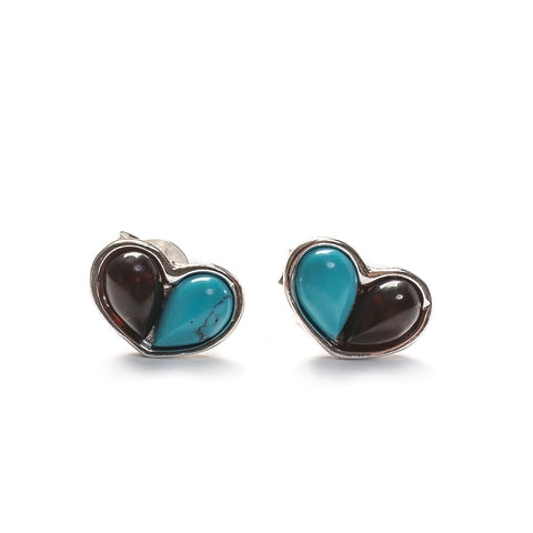 Small Split Heart Stud Earrings in Silver, Turquoise and Cherry Amber
