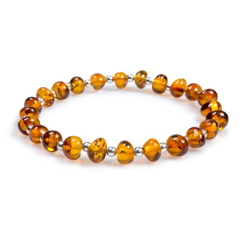 Stretch Bead Bracelet in Silver and Amber