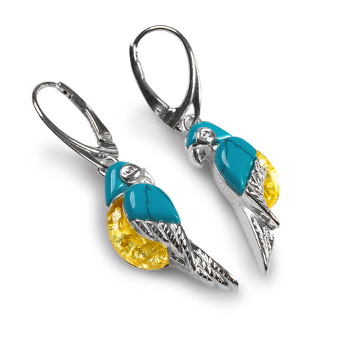 Tropical Parrot Earrings in Silver, Yellow Amber and Turquoise