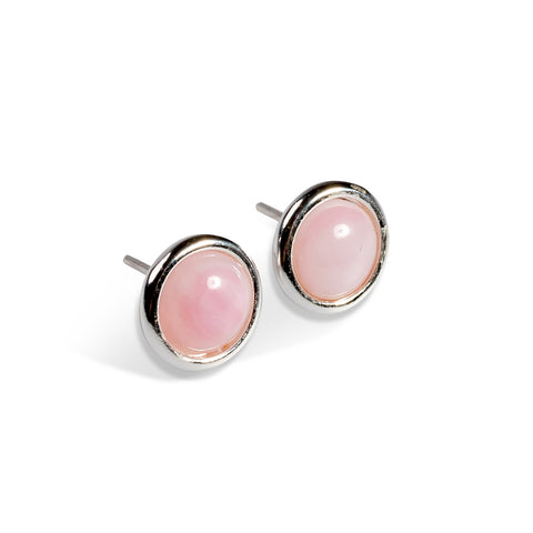 Pastel Pink Round Stud Earrings Set in Silver