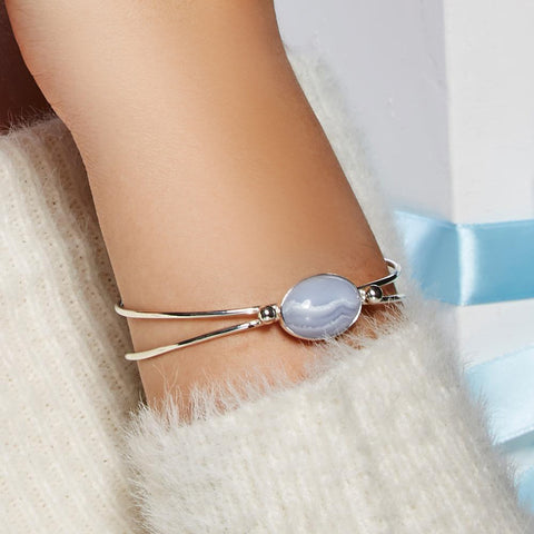 Oval Bangle in Silver and Blue Lace Agate