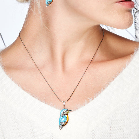 Large Kingfisher Bird Necklace in Silver, Turquoise and Amber